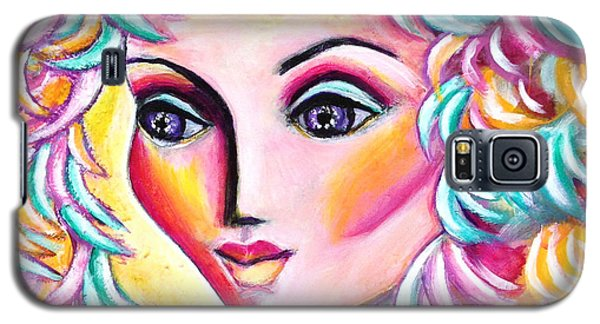 Galaxy S5 Case featuring the painting Lady And Falling Leaves by Anya Heller