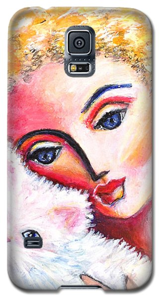 Galaxy S5 Case featuring the painting Lady And White Persian Cat by Anya Heller
