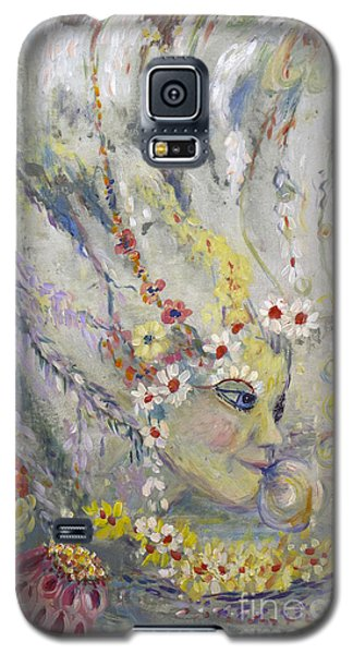 Galaxy S5 Case featuring the painting Lady In The Waterfall by Avonelle Kelsey