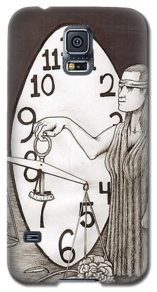 Galaxy S5 Case featuring the painting Lady Justice And The Handless Clock by Richie Montgomery
