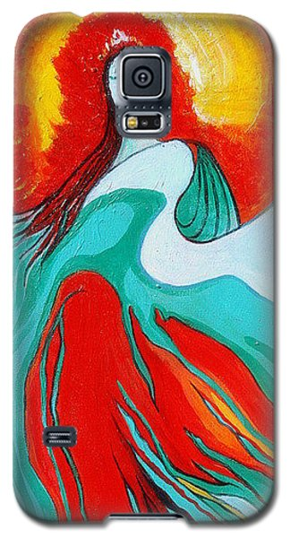 Galaxy S5 Case featuring the painting Lady Of Two Worlds by Alison Caltrider