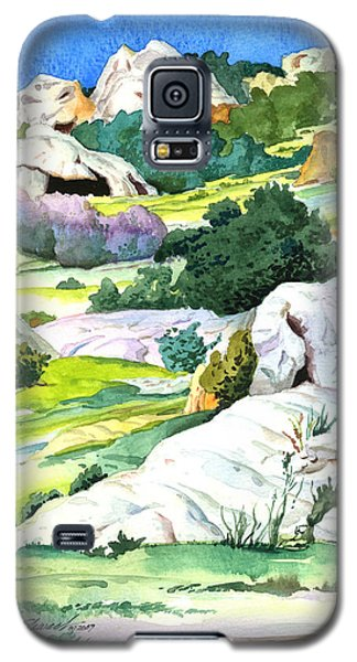 Galaxy S5 Case featuring the painting Laguna Canyon Rocks by John Norman Stewart