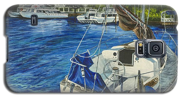 Galaxy S5 Case featuring the painting Lahaina Yacht by Darice Machel McGuire