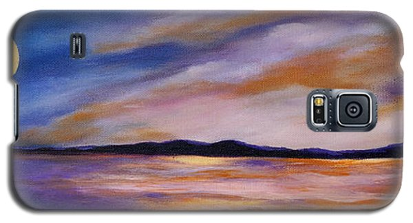Galaxy S5 Case featuring the painting Lakeside Sunset by Michelle Joseph-Long