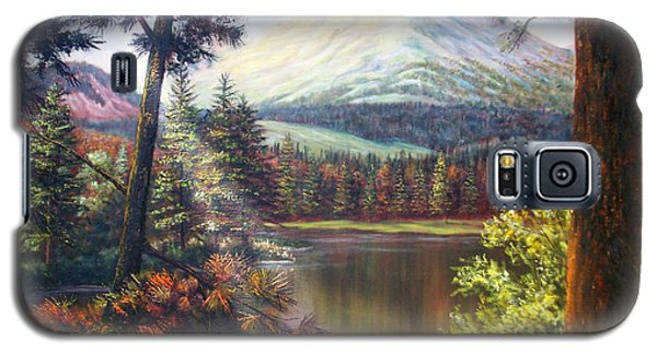 Galaxy S5 Case featuring the painting Landscape-lake And Trees by Loxi Sibley