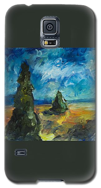 Galaxy S5 Case featuring the painting Emerald Spires by Yulia Kazansky
