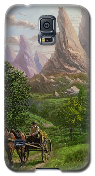 Landscape With Man Driving Horse And Cart Galaxy S5 Case