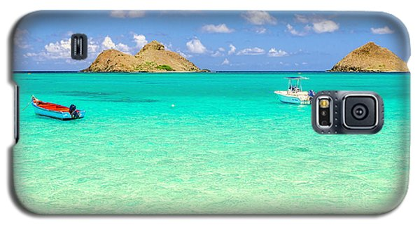 Galaxy S5 Case featuring the photograph Lanikai Beach Two Boats And Two Mokes by Aloha Art