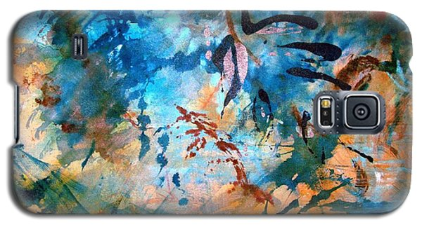 Galaxy S5 Case featuring the painting Lapis Leaves by Mary Schiros
