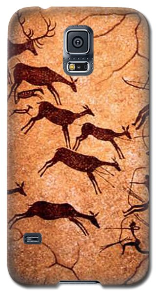 Galaxy S5 Case featuring the digital art Lascaux Stag Hunting by Asok Mukhopadhyay