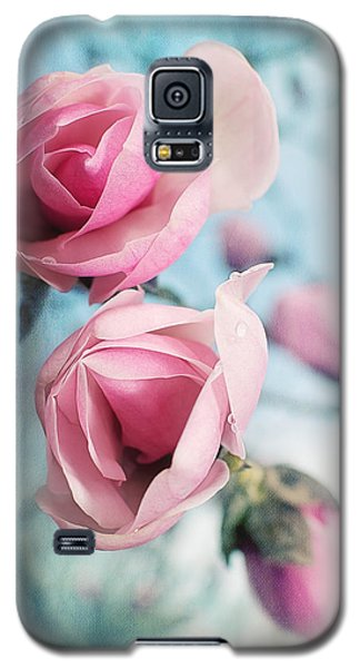 Galaxy S5 Case featuring the photograph Laura Ashley Inspired Springtime Magnolias On Blue Sky by Lisa Knechtel