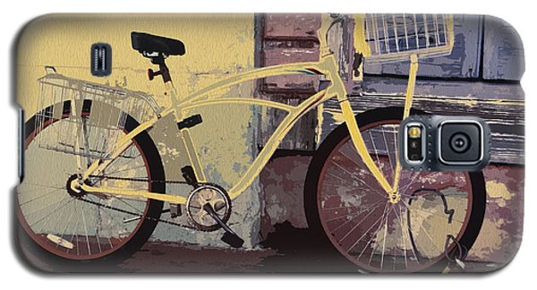 Galaxy S5 Case featuring the photograph Lavender Door And Yellow Bike by Ecinja Art Works