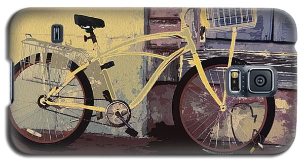 Lavender Door And Yellow Bike Galaxy S5 Case by Ecinja Art Works