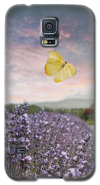 Lavender Field Pink And Blue Sunset And Yellow Butterfly Galaxy S5 Case by Brooke T Ryan