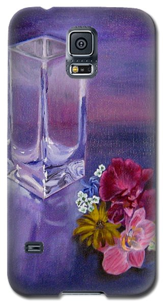 Galaxy S5 Case featuring the painting Lavender Vase by LaVonne Hand