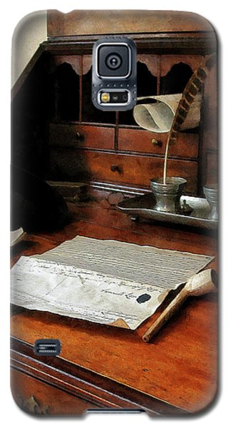 Galaxy S5 Case featuring the photograph Lawyer - Quill Papers And Pipe by Susan Savad
