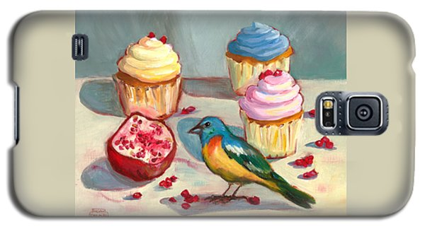 Lazuli Bunting And Pomegranate Cupcakes Galaxy S5 Case by Susan Thomas