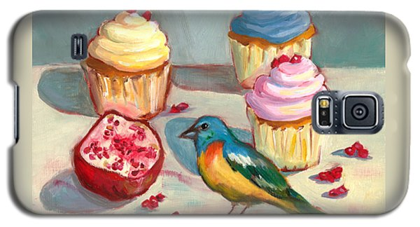 Galaxy S5 Case featuring the painting Lazuli Bunting And Pomegranate Cupcakes by Susan Thomas