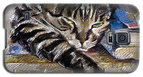 Lazy Cat Portrait - Drawing Galaxy S5 Case