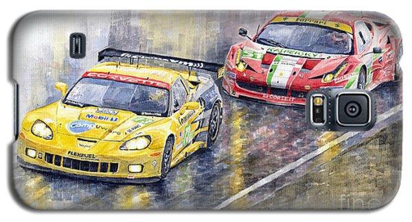 Car Galaxy S5 Case - 2011 Le Mans Gte Pro Chevrolette Corvette C6r Vs Ferrari 458 Italia by Yuriy Shevchuk