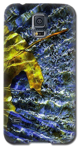Galaxy S5 Case featuring the photograph Leaf In Creek - Blue Abstract by Darryl Dalton