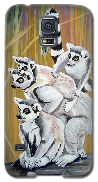 Galaxy S5 Case featuring the painting Leapin Lemurs by Phyllis Kaltenbach
