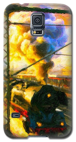 Galaxy S5 Case featuring the digital art Leaving The Station by Chuck Mountain