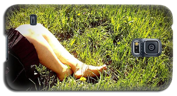 Legs Of A Woman And Green Grass Galaxy S5 Case