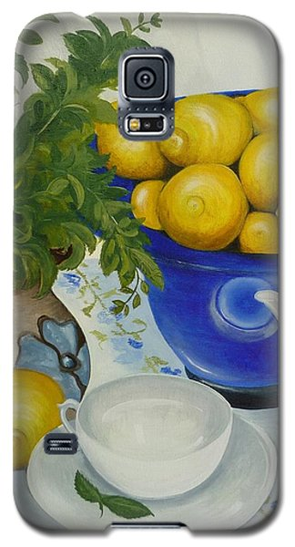 Galaxy S5 Case featuring the painting Lemon Tea by Helen Syron