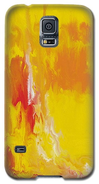 Galaxy S5 Case featuring the painting Lemon Yellow Sun by Roz Abellera Art