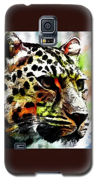 Galaxy S5 Case featuring the painting Leopard - Leopardo by Zedi