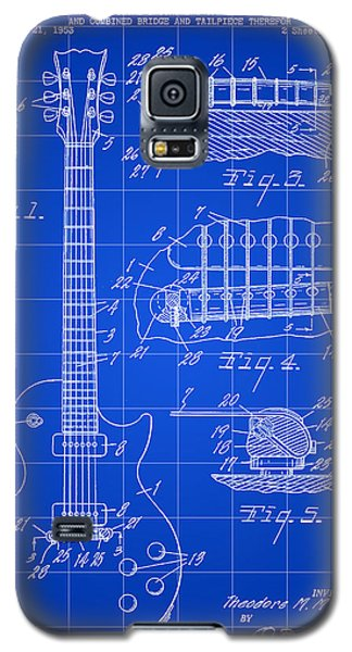 Les Paul Guitar Patent 1953 - Blue Galaxy S5 Case by Stephen Younts