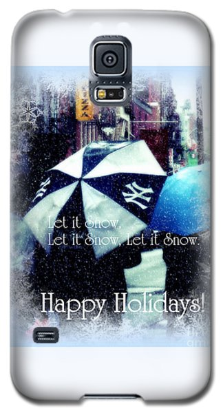 Let It Snow - Happy Holidays - Ny Yankees Holiday Cards Galaxy S5 Case by Miriam Danar