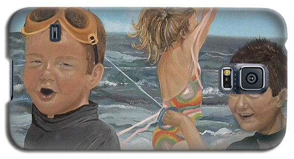 Galaxy S5 Case featuring the painting Beach - Children Playing - Kite by Jan Dappen