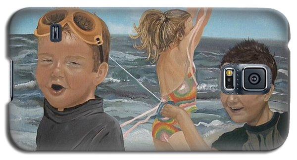 Beach - Children Playing - Kite Galaxy S5 Case by Jan Dappen