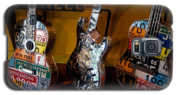 Galaxy S5 Case featuring the photograph License Plate Guitars by Vinnie Oakes