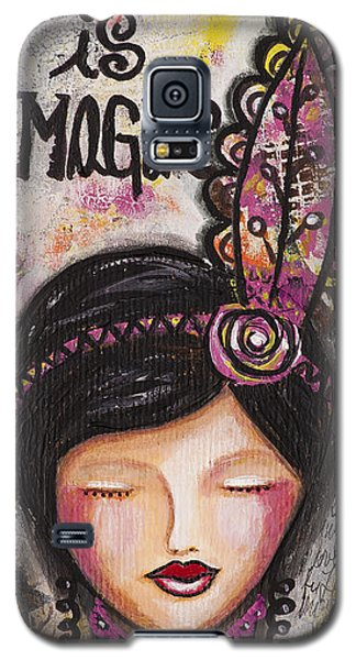 Galaxy S5 Case featuring the mixed media Life Is Magic Uplifting Collage Painting by Stanka Vukelic
