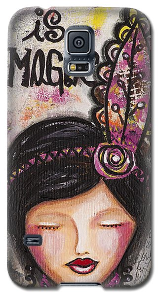 Life Is Magic Uplifting Collage Painting Galaxy S5 Case by Stanka Vukelic