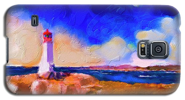 Galaxy S5 Case featuring the painting Light House At Peggys Cove by Ted Azriel