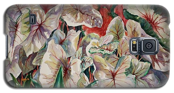 Galaxy S5 Case featuring the painting Light Play Caladiums by Roxanne Tobaison