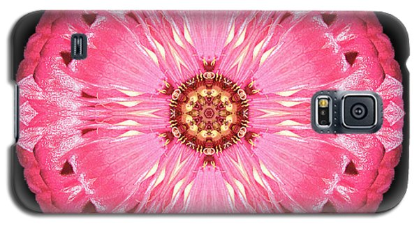 Galaxy S5 Case featuring the photograph Light Red Zinnia Elegans Flower Mandala by David J Bookbinder