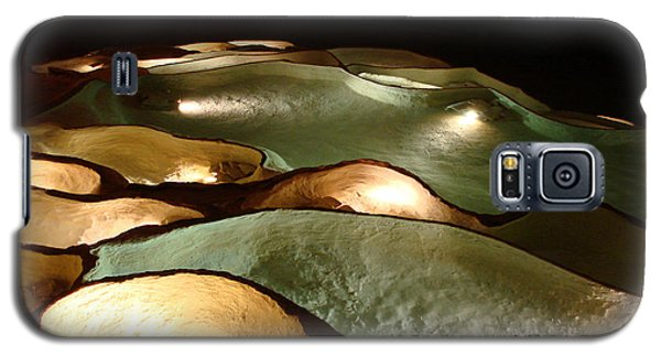 Galaxy S5 Case featuring the photograph Light Up The Dark - Lit Natural Rock Water Basins In Underground Cave by Menega Sabidussi