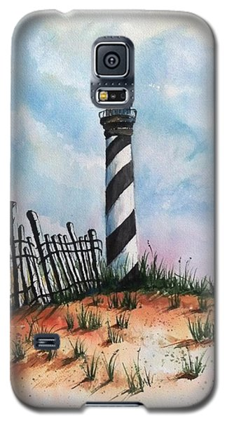 Galaxy S5 Case featuring the painting Lighthouse And Fence by Richard Benson