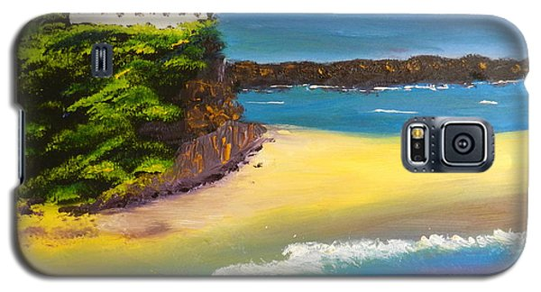 Galaxy S5 Case featuring the painting Lighthouse At Nobbys Beach Newcastle Australia by Pamela  Meredith