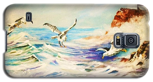 Galaxy S5 Case featuring the painting Lighthouse Gulls And Waves by Al Brown