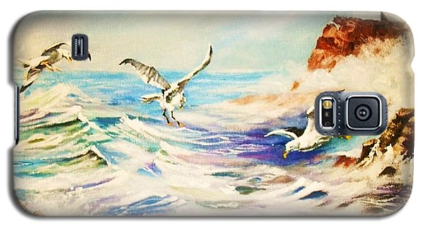 Lighthouse Gulls And Waves Galaxy S5 Case