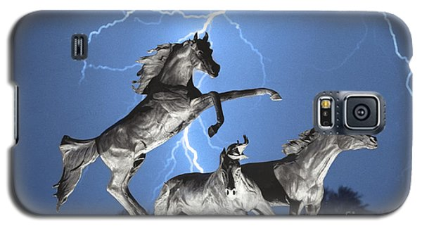 Lightning At Horse World Bw Color Print Galaxy S5 Case by James BO  Insogna