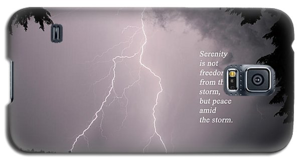 Galaxy S5 Case featuring the photograph Lightning At The Lake - Inspirational Quote by Barbara West