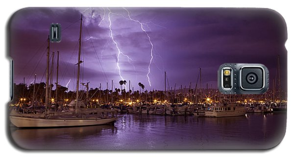 Galaxy S5 Case featuring the photograph Lightning Behind Santa Barbara Harbor  Mg_6541 by David Orias