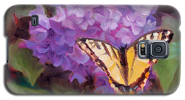 Lilacs And Swallowtail Butterfly Purple Flowers Garden Decor Painting  Galaxy S5 Case